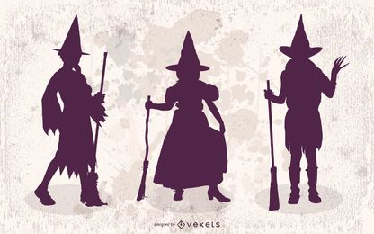 3 Girls in Halloween Witch Costumes