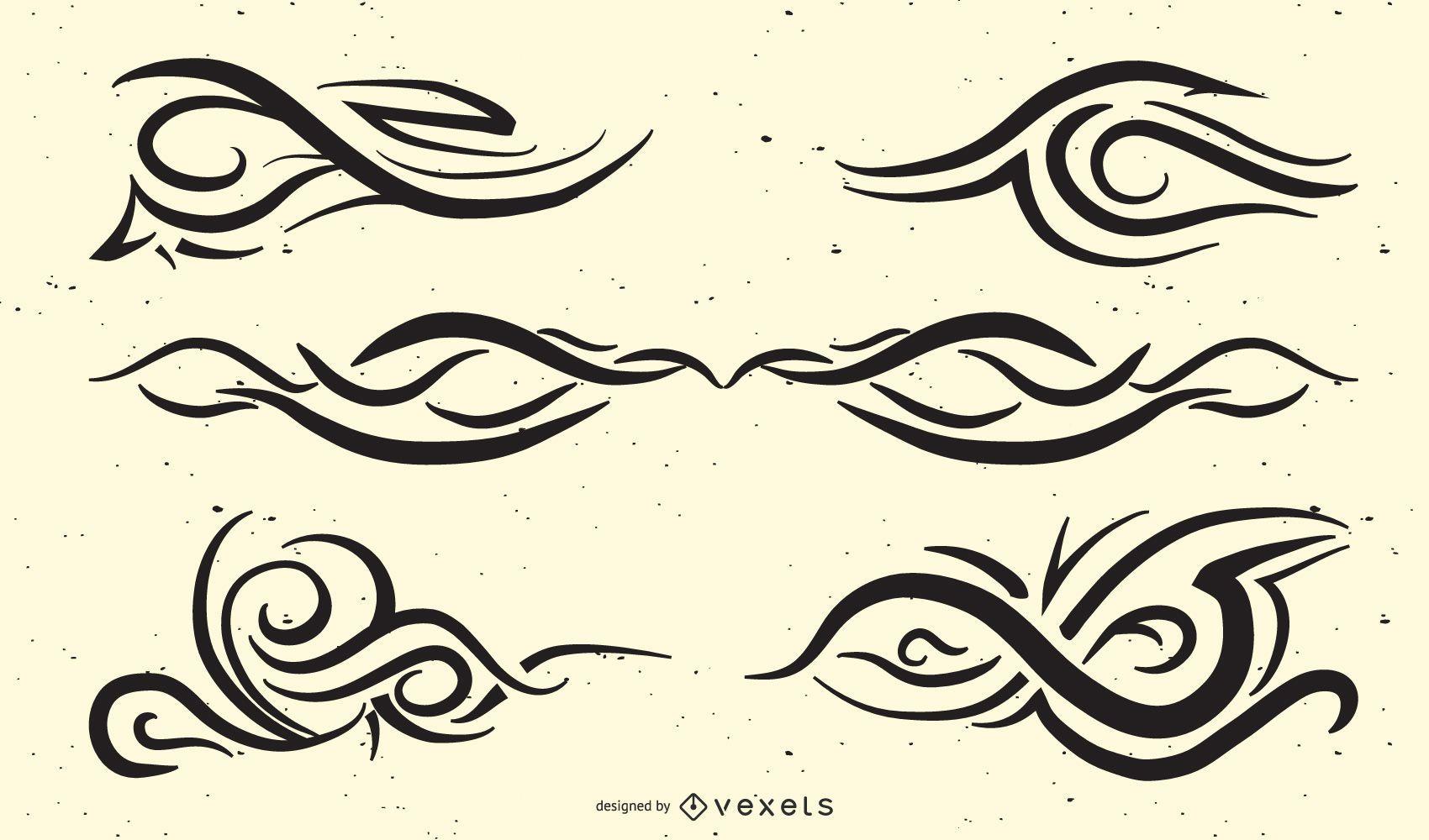Paquete de tatuajes tribales con estilo