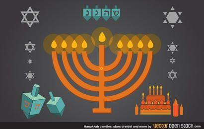 Velas Hanukkah, estrelas, dreidel e mais