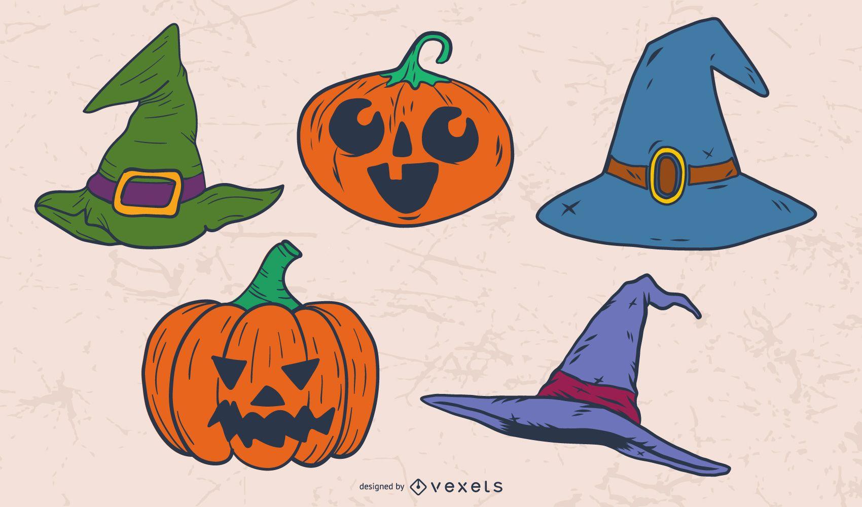 Chapéu de bruxa e abóboras para o Halloween