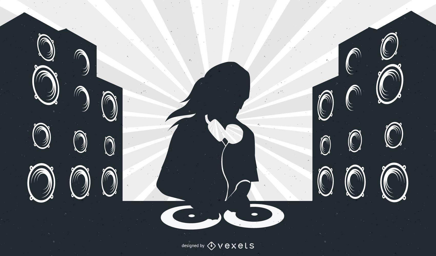 Disposición musical con DJ Girl