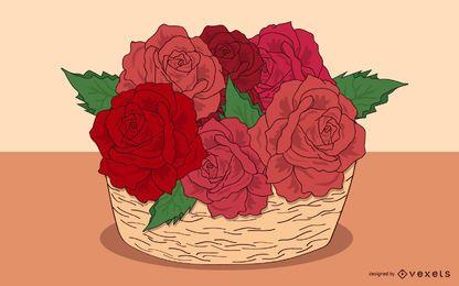 Ramo de rosas desenhado à mão na cesta