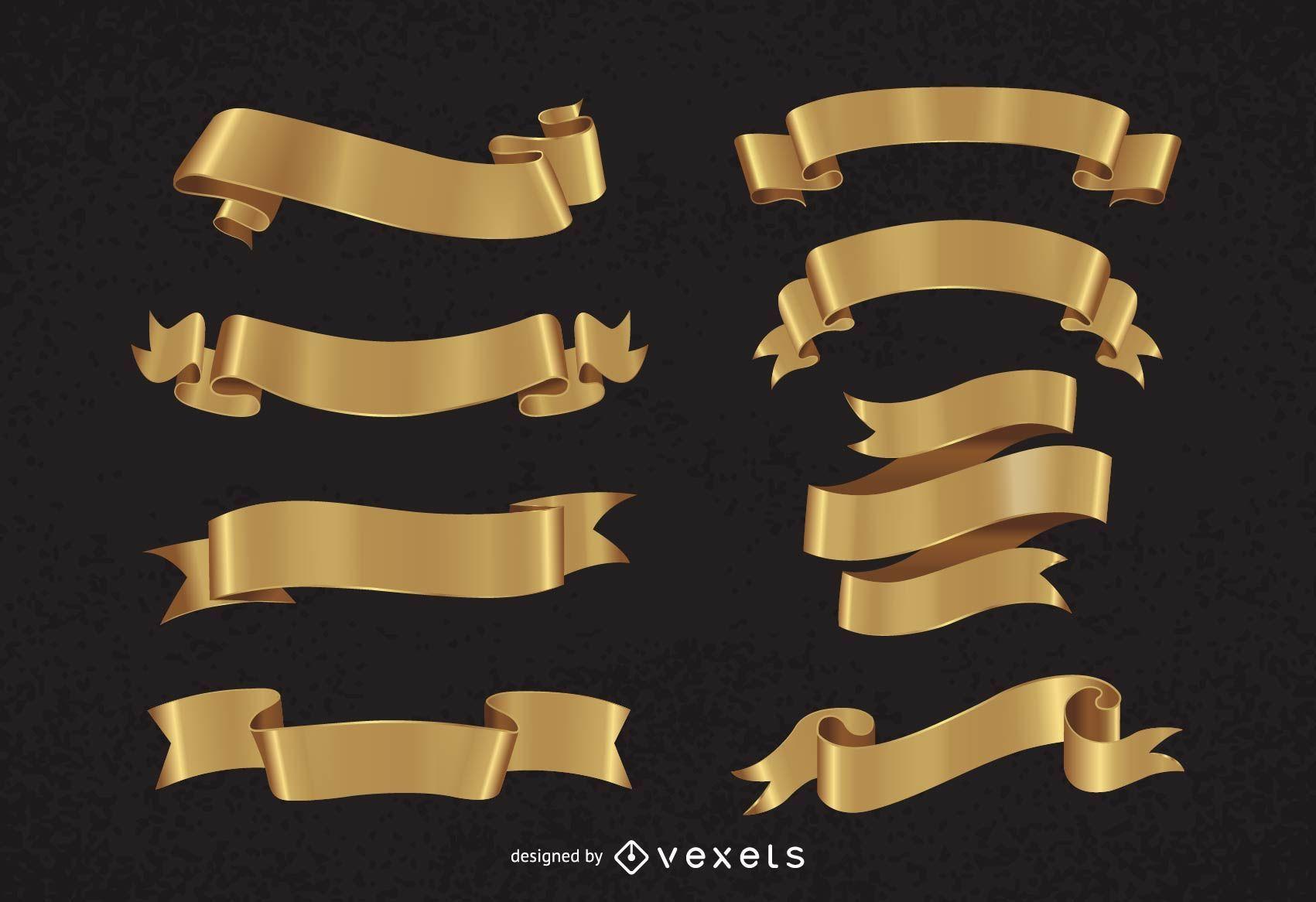 Dekorative goldene Bandpackung