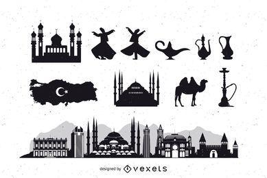 Silhueta de pacote de ícone de Istambul Turquia