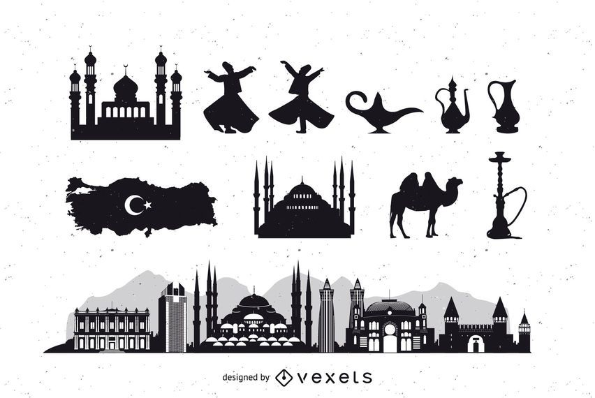 Turquía Estambul Icon Pack silueta