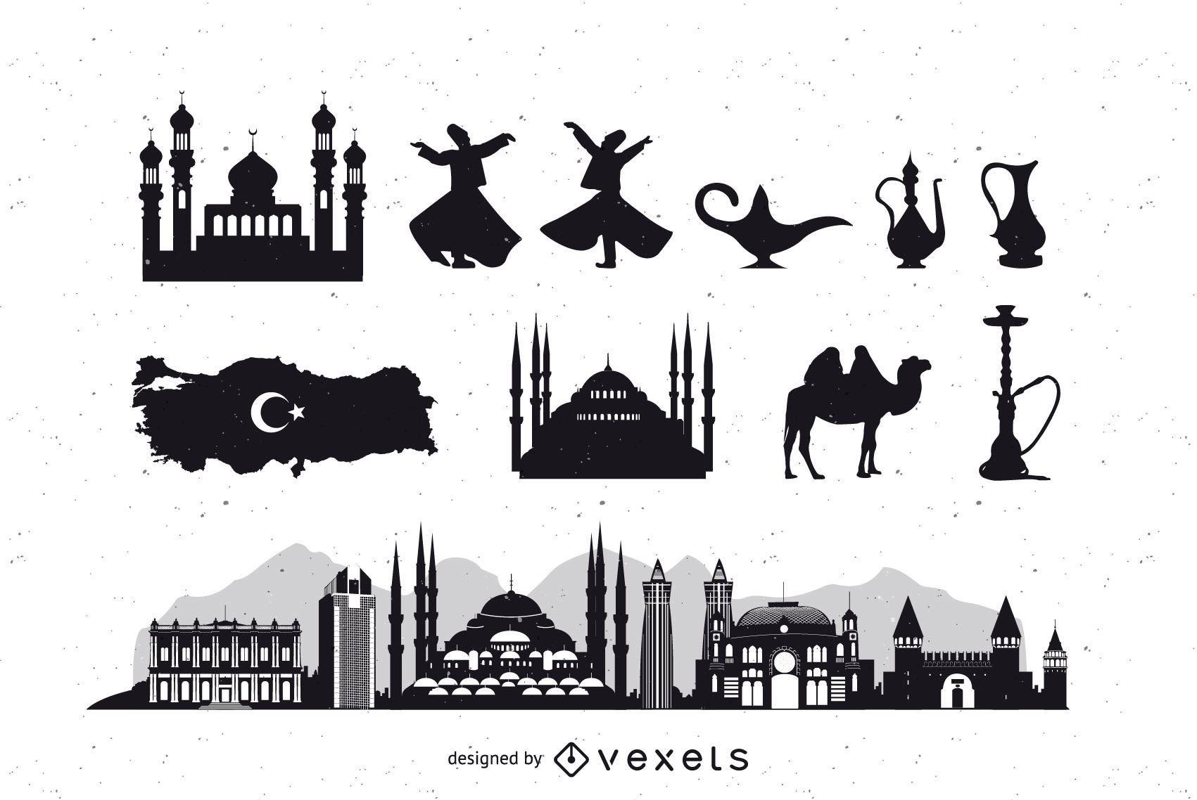 Turquía Estambul Icon Pack Silueta