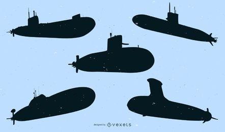 Silhueta de pacote de navio submarino