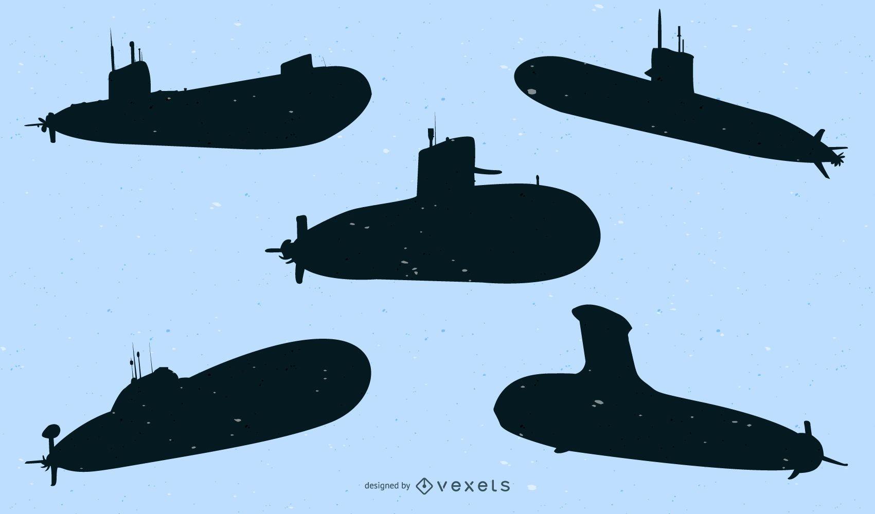 Silueta de paquete de barco submarino