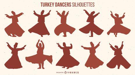 Paquete de silueta de bailarines de pavo