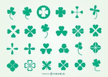 Paquete de símbolos de trébol para el día de San Patricio
