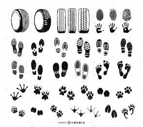Foot and Car Wheel Step Print Set