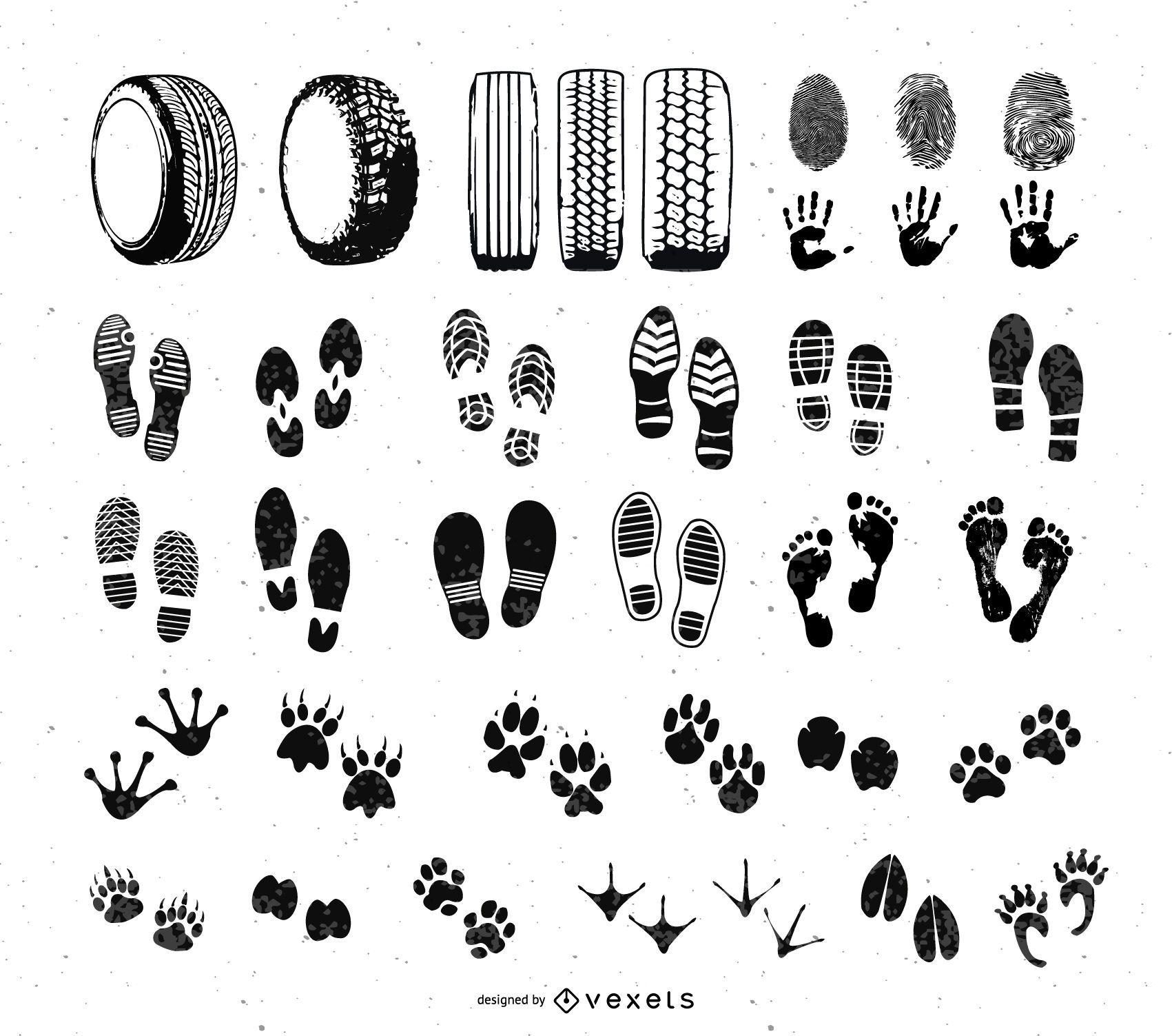 Foot and Car Wheel Step Print Set