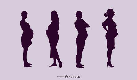 Silhueta do pacote de mulheres grávidas