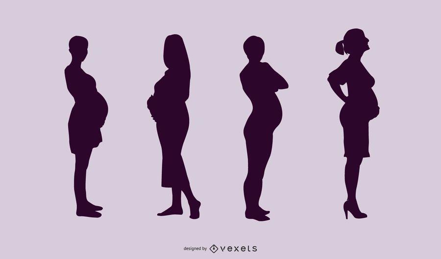 Pack de señoras embarazadas silueta