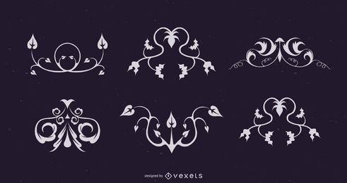 Conjunto de enfeite floral elegante encaracolado