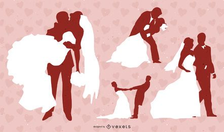 Silhueta de pacote de ícones de casamento