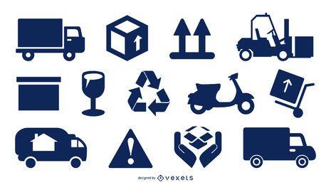 Conjunto de ícones de embalagem e entrega de carga