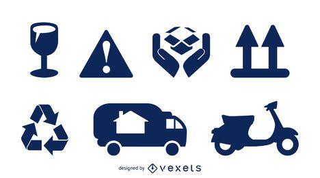 Conjunto de iconos de embalaje y entrega de carga