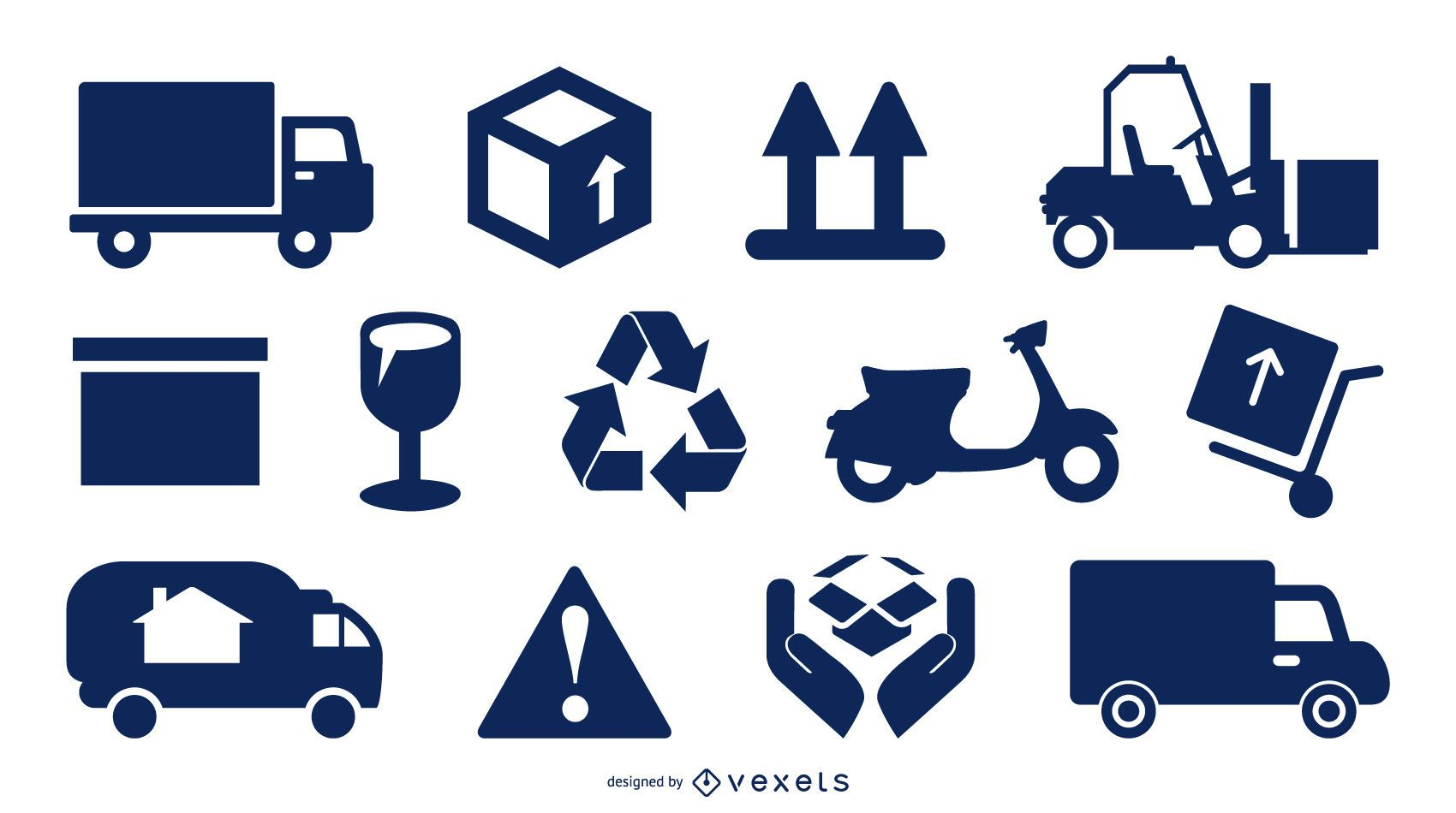 Conjunto de iconos de entrega y embalaje de carga