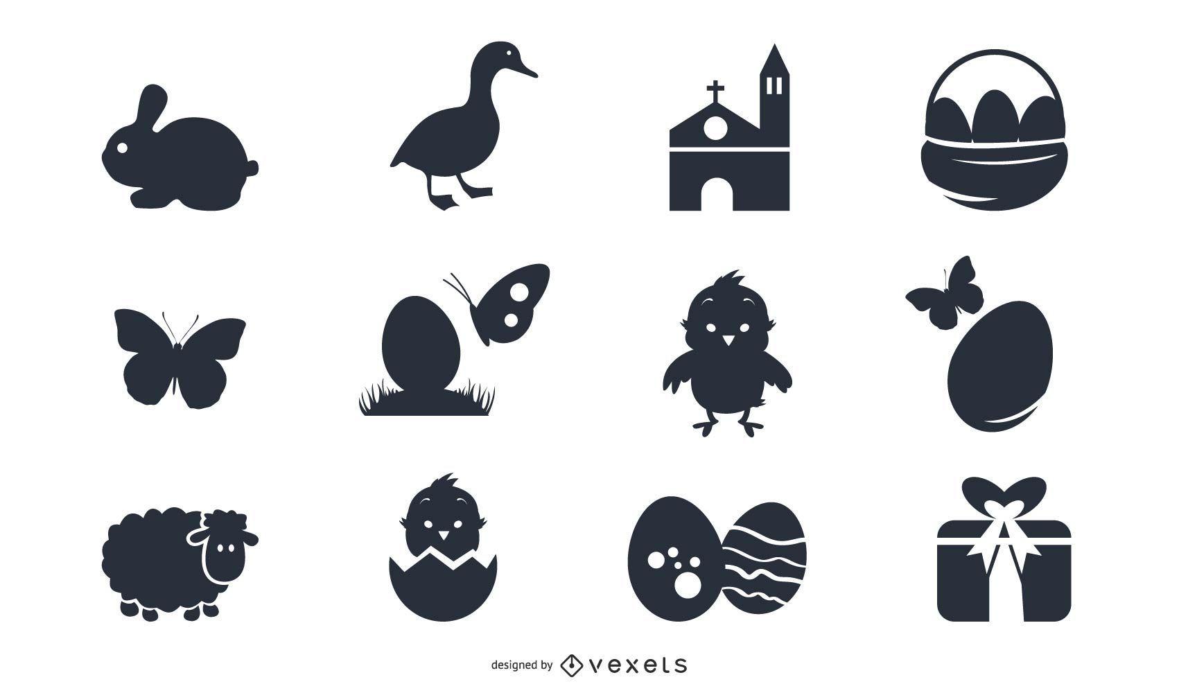 Silueta de paquete de símbolo de Pascua