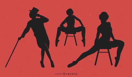 Pack de bailarines de jazz silueta