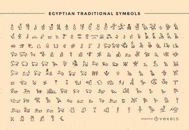 Esquema del paquete de símbolos tradicionales de Egipto