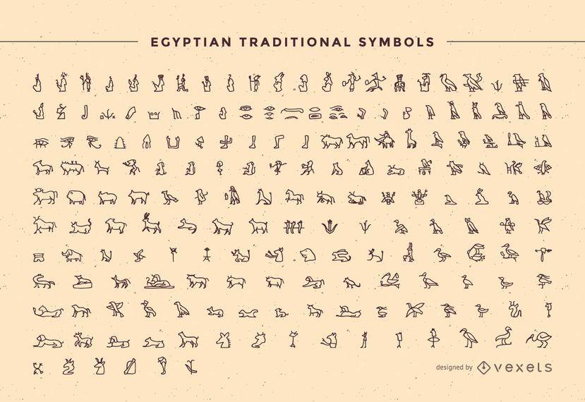 Contorno do pacote de símbolo tradicional do Egito