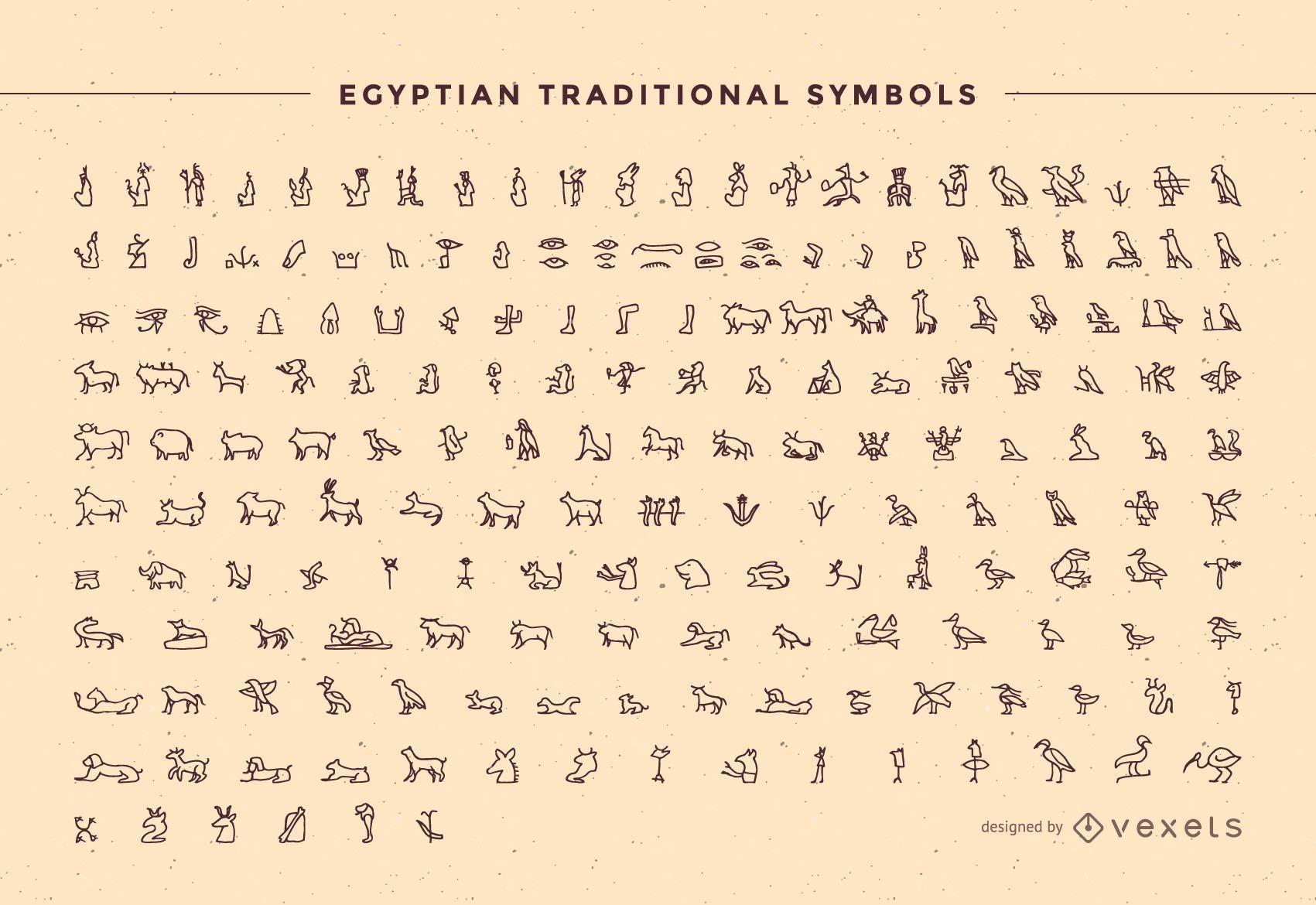 Esbo?o do Pacote de S?mbolos Tradicionais do Egito