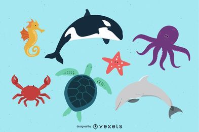 Free Kids Beach Animals Art Pack