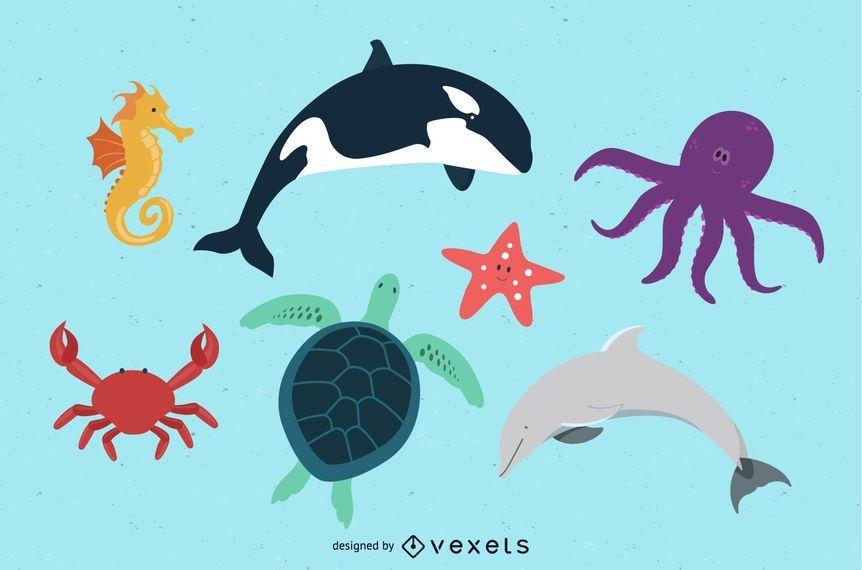 Paquete de arte de animales de playa gratis para niños