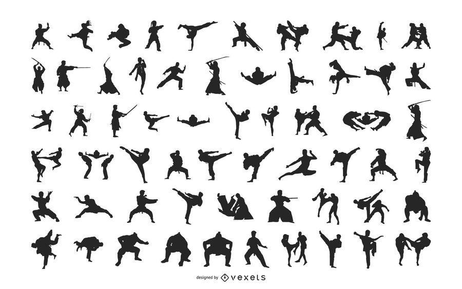Pacote de arte marcial de silhueta