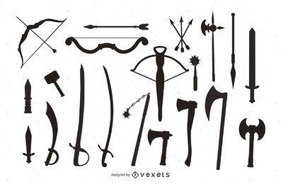 Silhueta de pacote de arma medieval