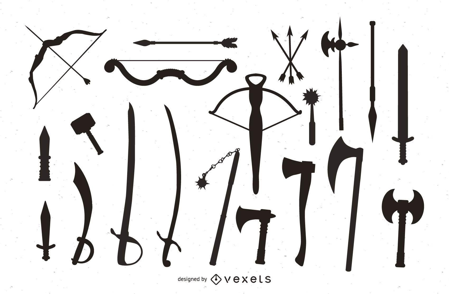 Silueta de paquete de armas medievales
