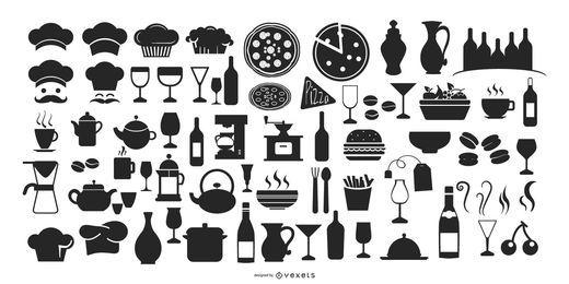Pacote de ícones criativos de café restaurante