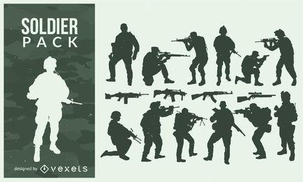Soldado e silhueta de pacote de armas