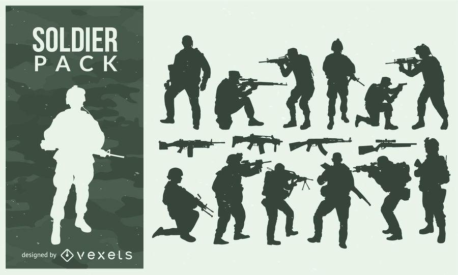 Paquete de armas y soldado silueta