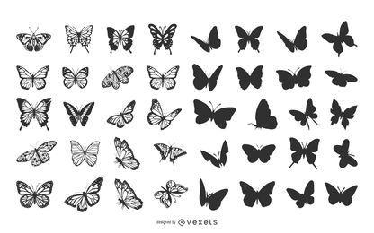 Paquete de mariposas en varias poses