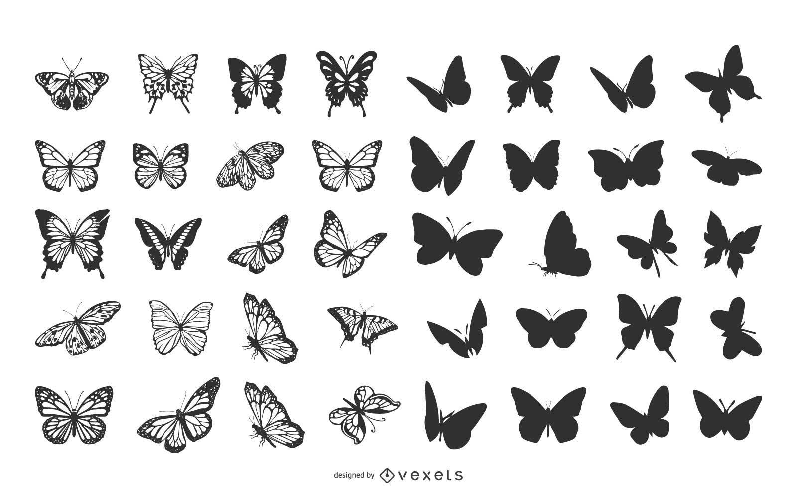 Pacote de borboletas em v?rias poses