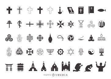 Silueta paquete de símbolo de la religión
