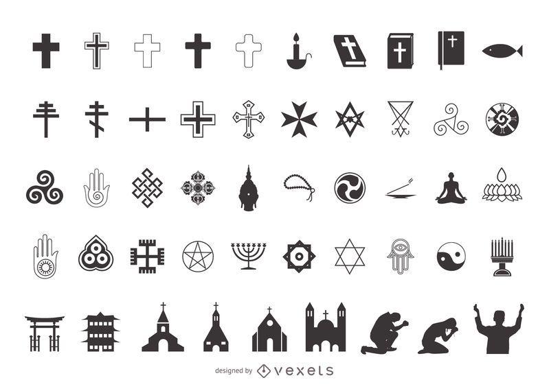 Religión Símbolo Pack Silueta