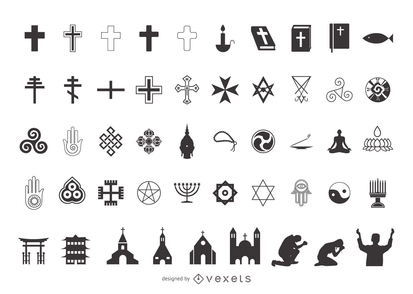 Different religious symbols and their meanings images symbol and islam religion symbols image collections symbol and sign ideas religion symbol pack silhouette vector download image buycottarizona