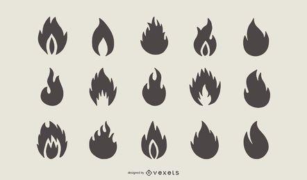 Conjunto de silhueta de forma de fogo chama