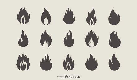 Conjunto de silhueta de forma de fogo
