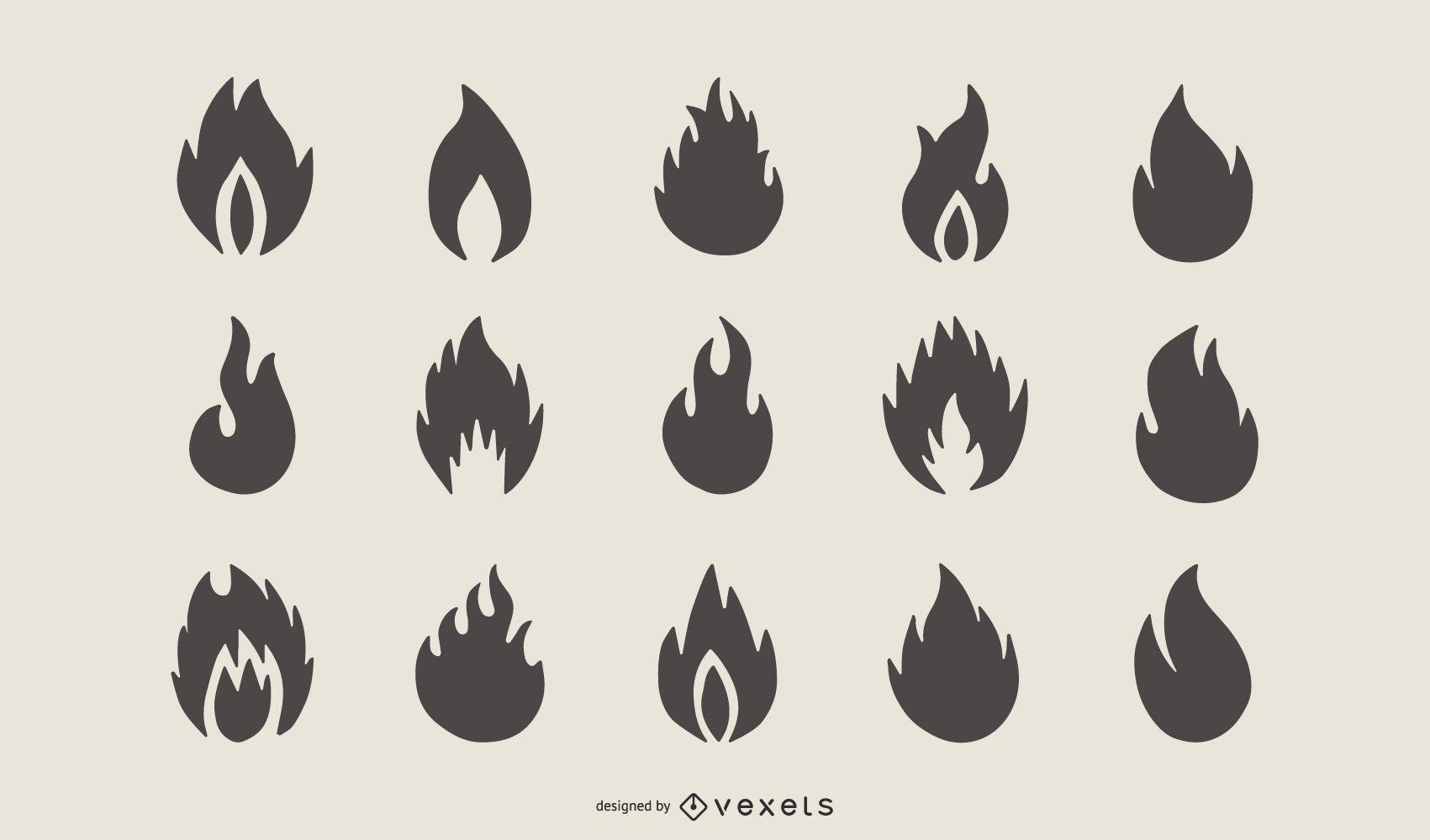 Conjunto de silueta de forma de llama de fuego