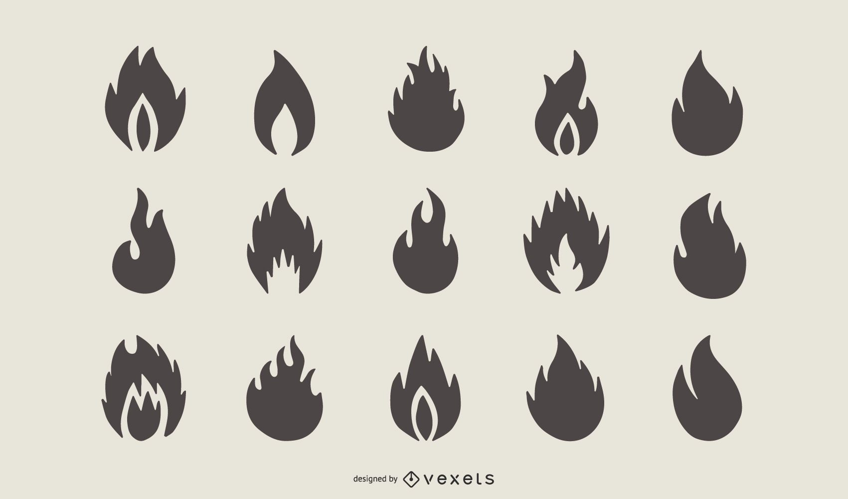 Set of Fire Flame Shape Silhouette