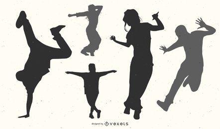 Silhueta de Pack de Dançarino Hip Hop