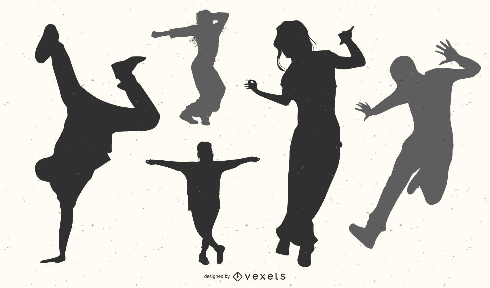 Silueta de paquete de bailarina de hip hop