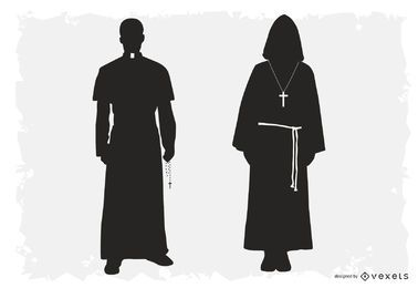 Priest and Monk Silhouette