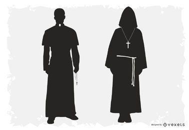 Silueta de sacerdote y paquete robado