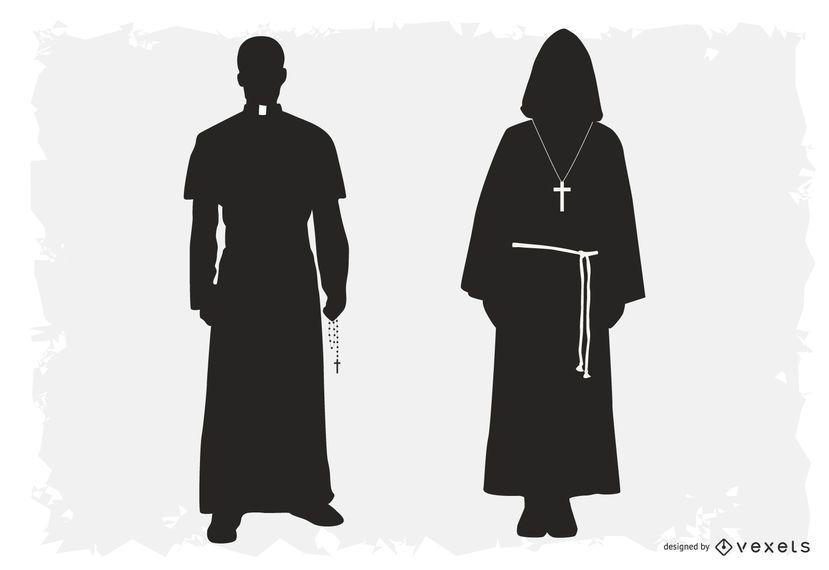 Sacerdote e Robed Pack silhueta